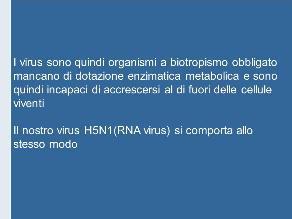 I virus sono quindi organismi a biotropismo obbligato
