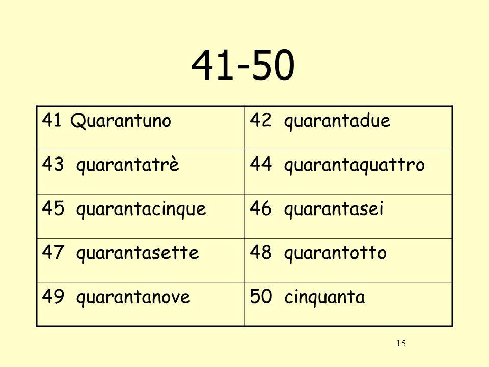 41-50 Quarantuno 42 quarantadue 43 quarantatrè 44 quarantaquattro