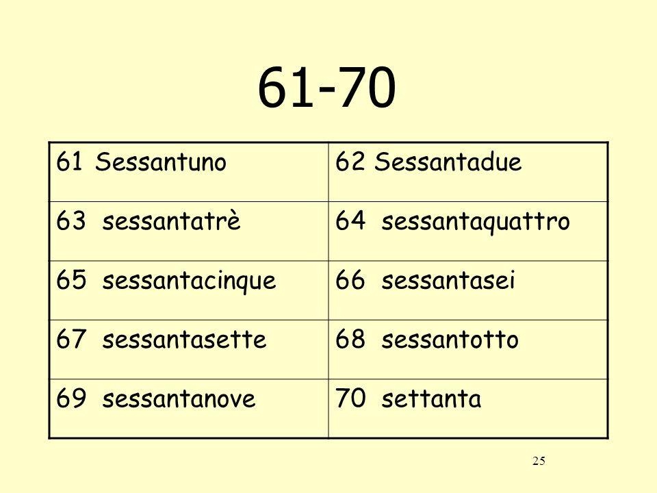61-70 Sessantuno Sessantadue 63 sessantatrè 64 sessantaquattro