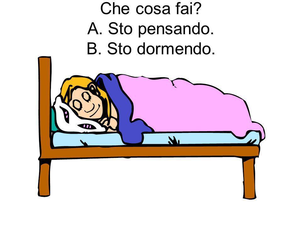 Che cosa fai A. Sto pensando. B. Sto dormendo.