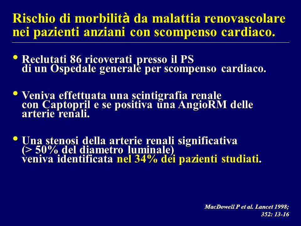 Rischio di morbilità da malattia renovascolare nei pazienti anziani con scompenso cardiaco.