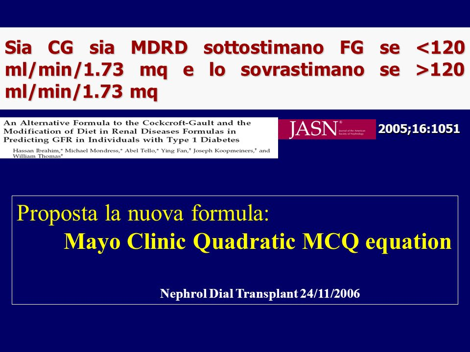 Proposta la nuova formula: Mayo Clinic Quadratic MCQ equation