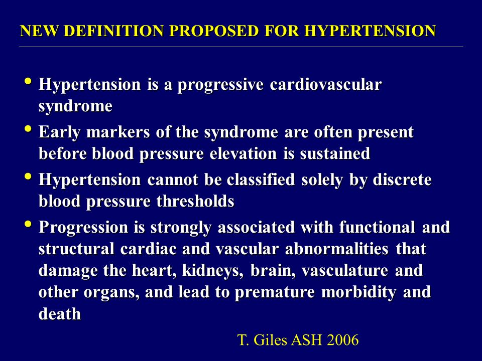 Hypertension is a progressive cardiovascular syndrome