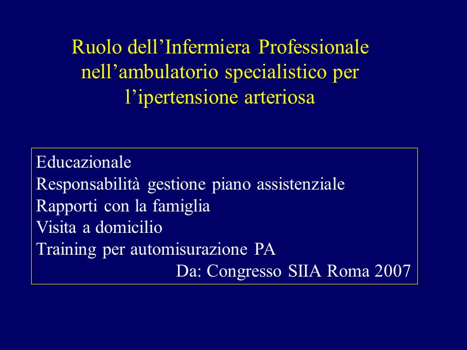Ruolo dell'Infermiera Professionale nell'ambulatorio specialistico per