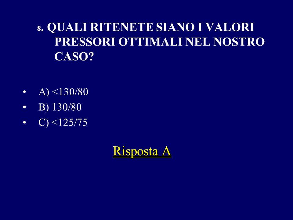Risposta A A) <130/80 B) 130/80 C) <125/75