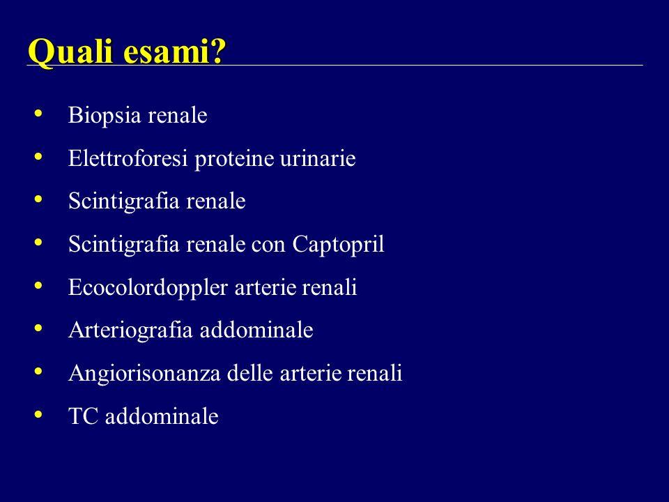 Quali esami Biopsia renale Elettroforesi proteine urinarie