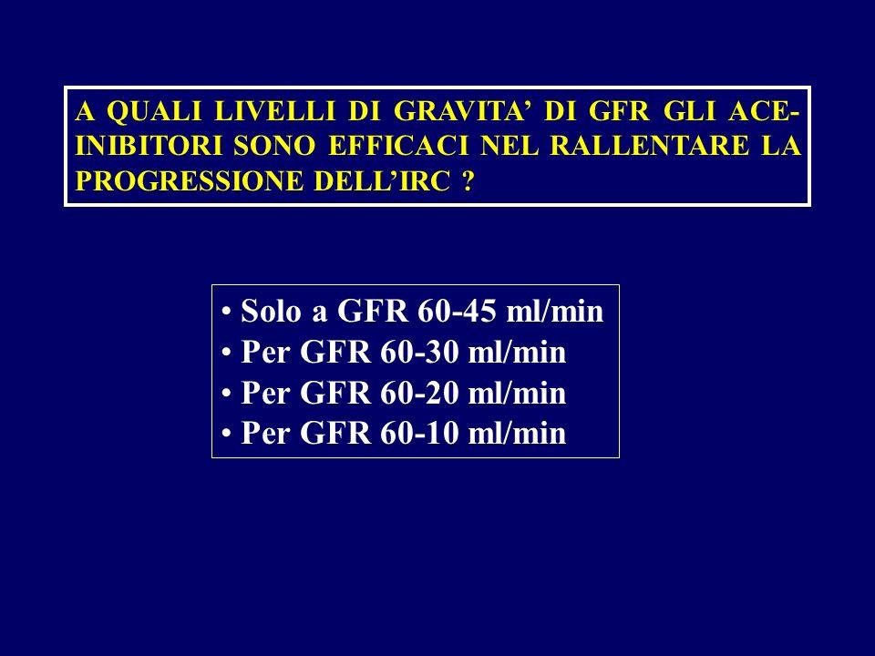 Solo a GFR 60-45 ml/min Per GFR 60-30 ml/min Per GFR 60-20 ml/min