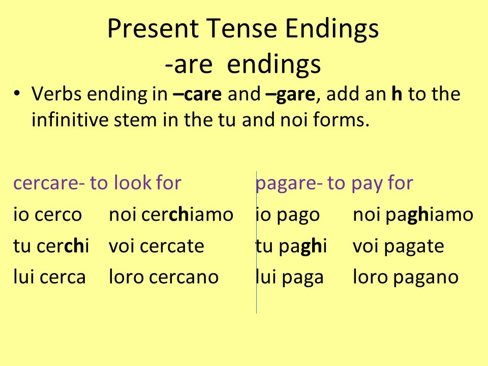 Present Tense Endings -are endings