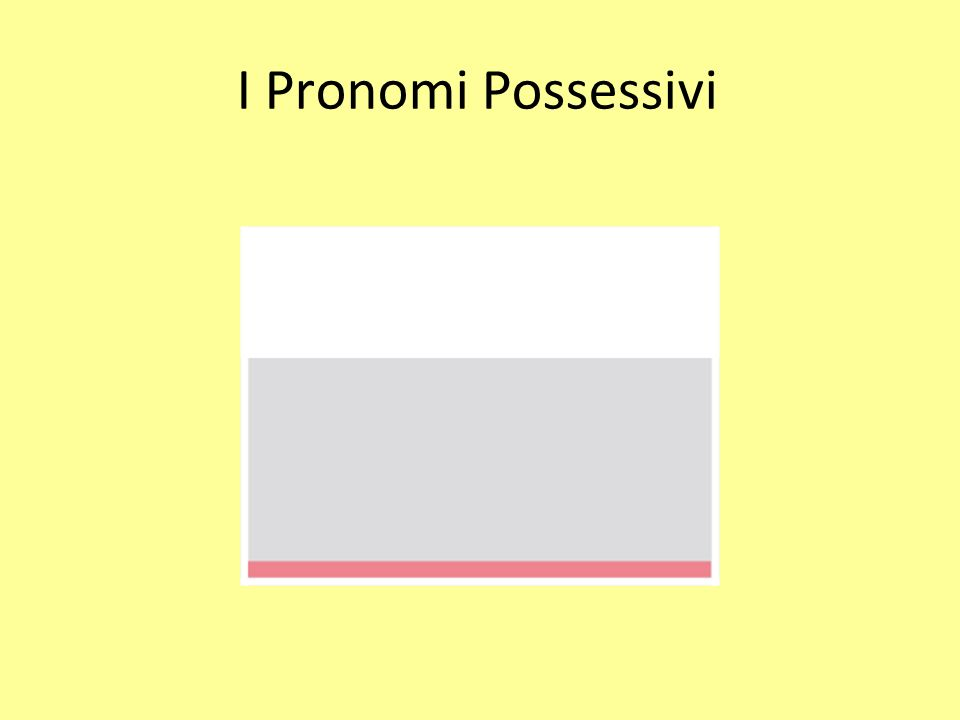 I Pronomi Possessivi