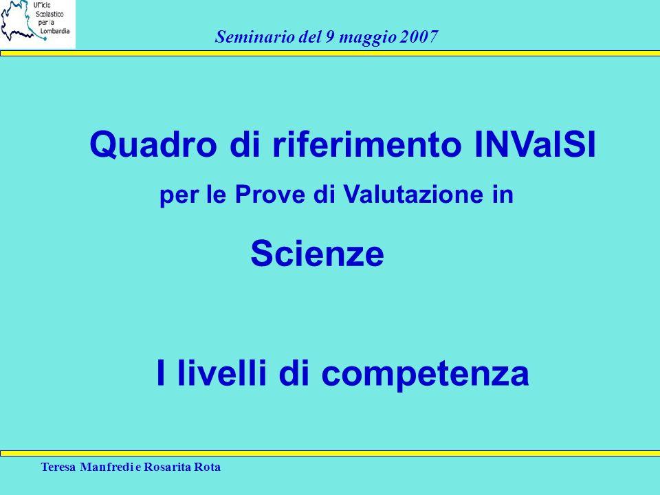 Quadro di riferimento INValSI Scienze I livelli di competenza