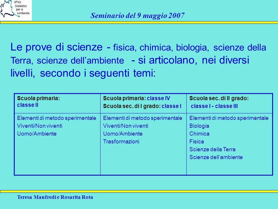 Le prove di scienze - fisica, chimica, biologia, scienze della Terra, scienze dell'ambiente - si articolano, nei diversi livelli, secondo i seguenti temi: