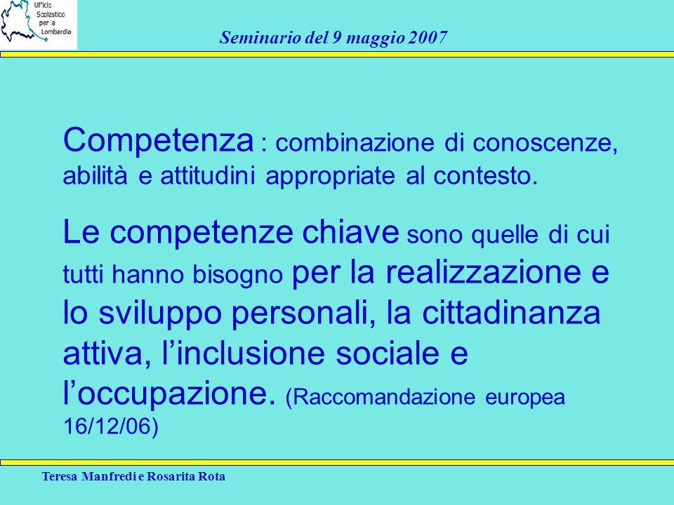 Competenza : combinazione di conoscenze, abilità e attitudini appropriate al contesto.