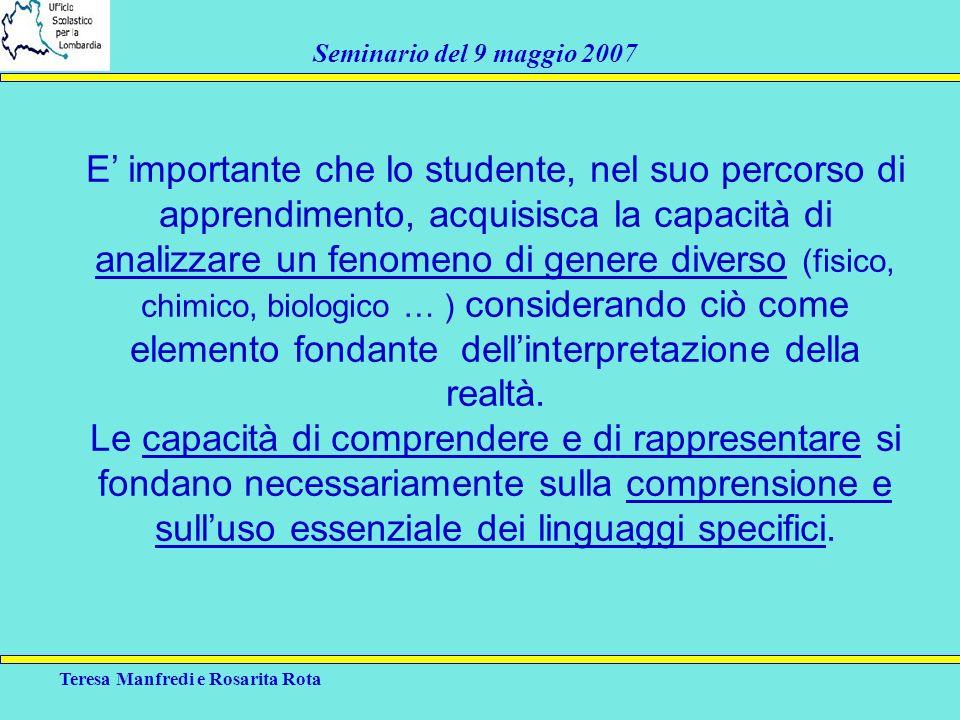 E' importante che lo studente, nel suo percorso di apprendimento, acquisisca la capacità di analizzare un fenomeno di genere diverso (fisico, chimico, biologico … ) considerando ciò come elemento fondante dell'interpretazione della realtà.