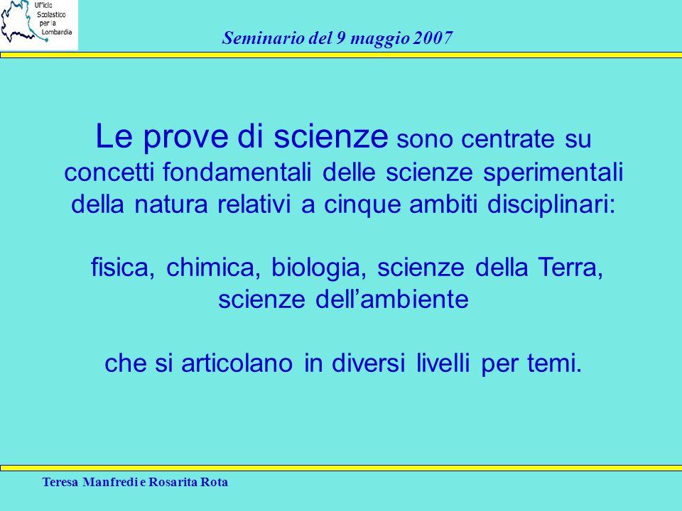 Le prove di scienze sono centrate su concetti fondamentali delle scienze sperimentali della natura relativi a cinque ambiti disciplinari: