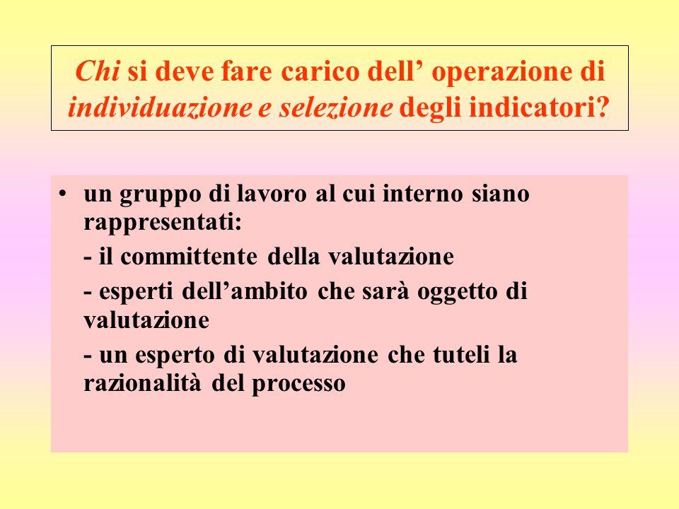 Chi si deve fare carico dell' operazione di individuazione e selezione degli indicatori