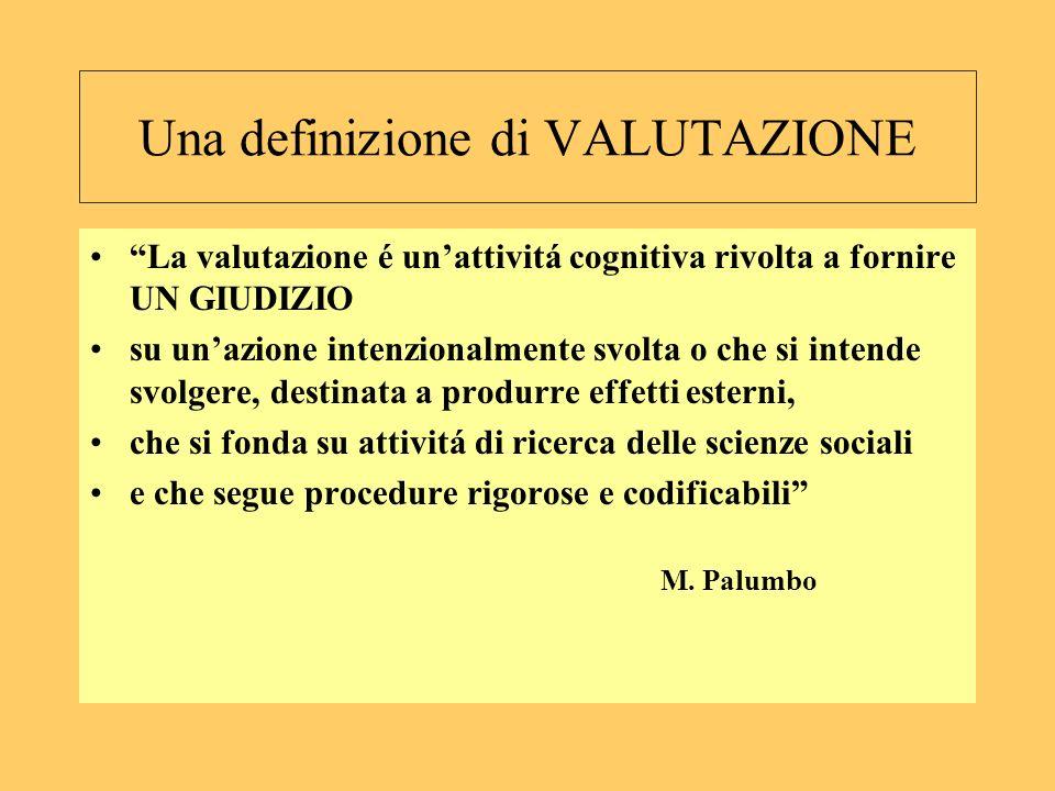 Una definizione di VALUTAZIONE