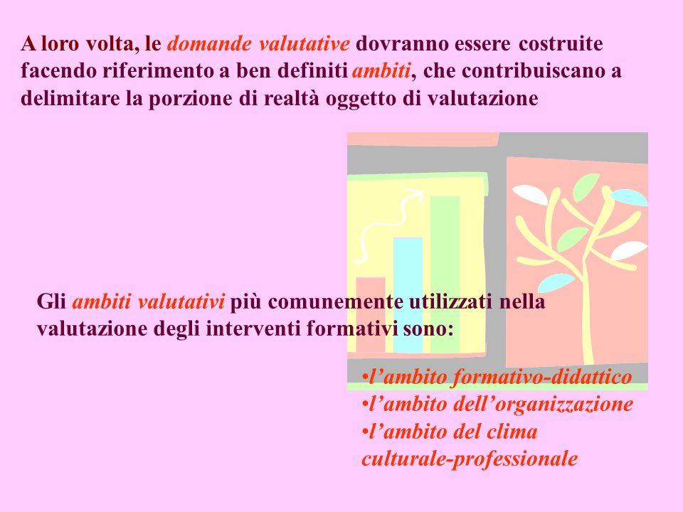 A loro volta, le domande valutative dovranno essere costruite facendo riferimento a ben definiti ambiti, che contribuiscano a delimitare la porzione di realtà oggetto di valutazione