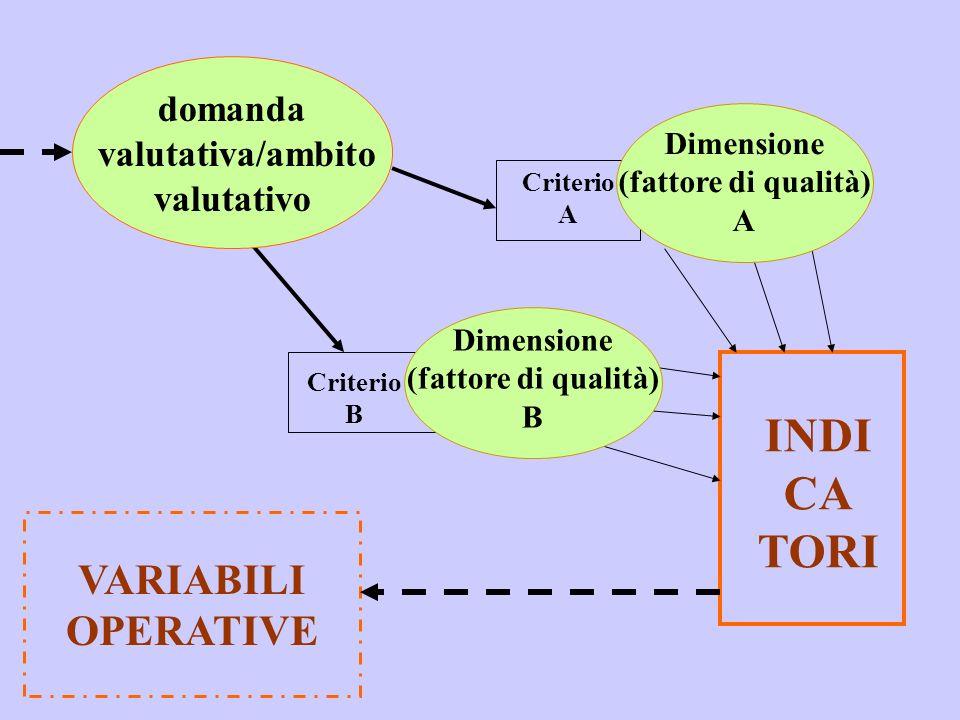 INDI CA TORI VARIABILI OPERATIVE domanda valutativa/ambito valutativo