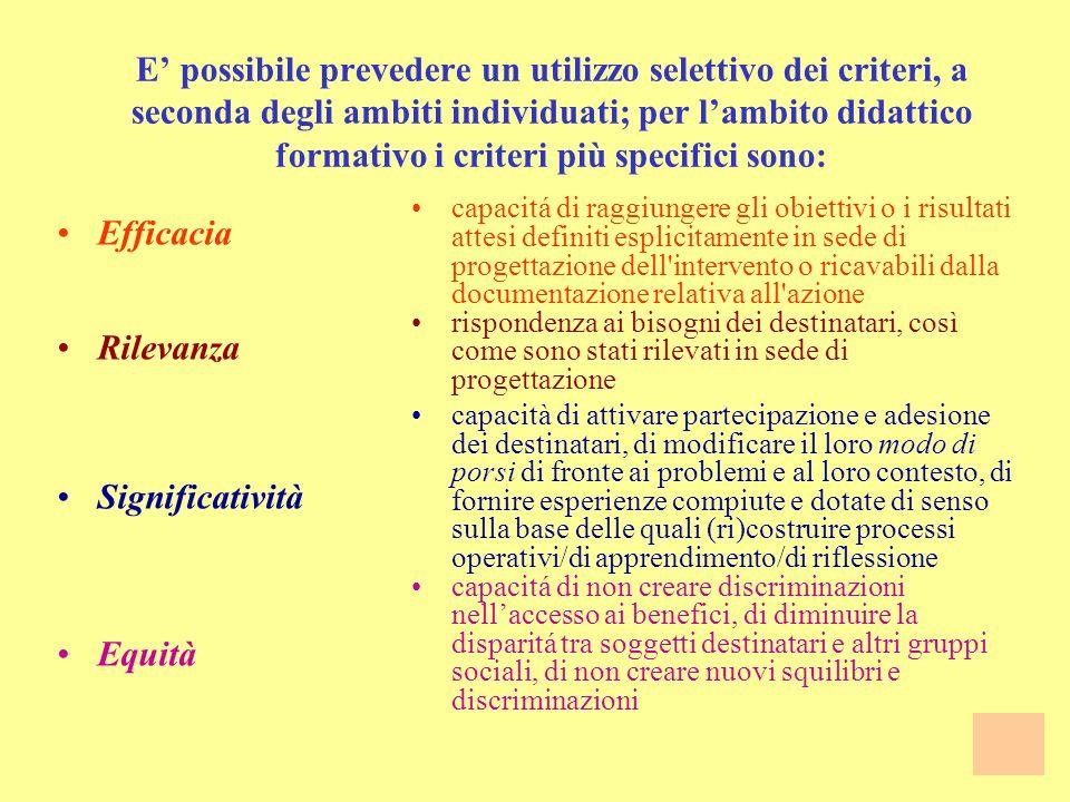 E' possibile prevedere un utilizzo selettivo dei criteri, a seconda degli ambiti individuati; per l'ambito didattico formativo i criteri più specifici sono: