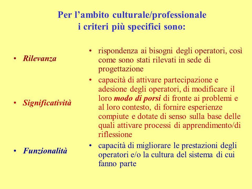 Per l'ambito culturale/professionale i criteri più specifici sono: