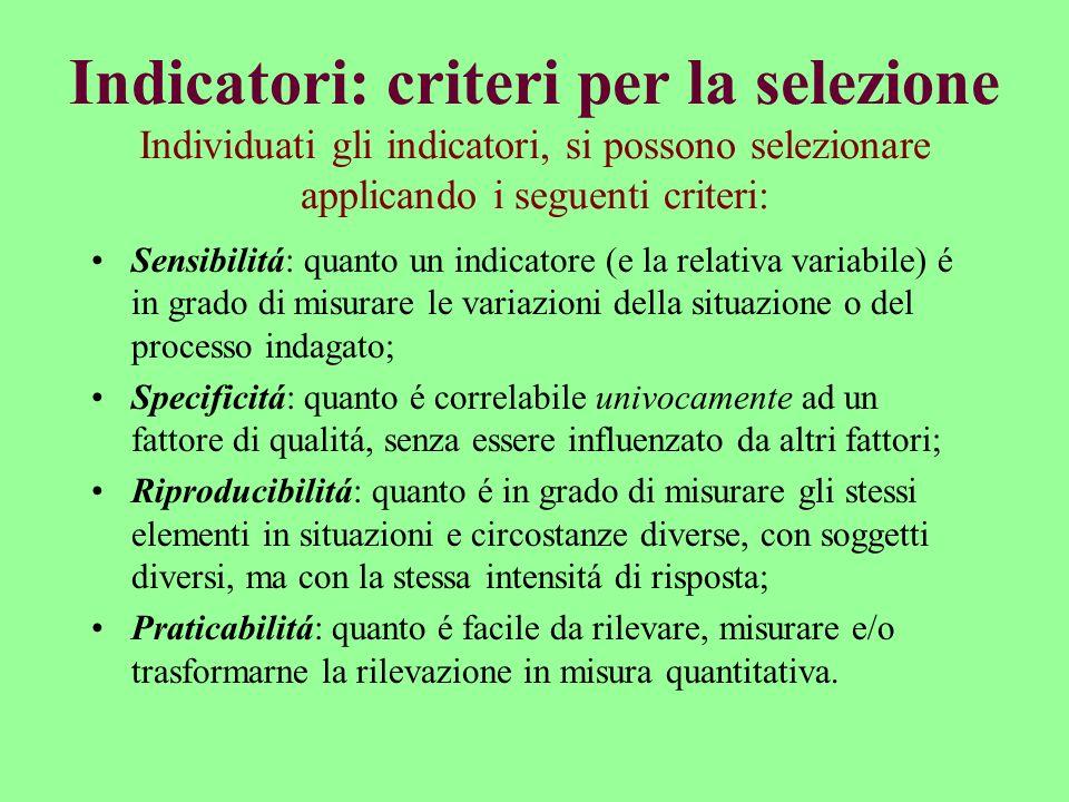 Indicatori: criteri per la selezione Individuati gli indicatori, si possono selezionare applicando i seguenti criteri: