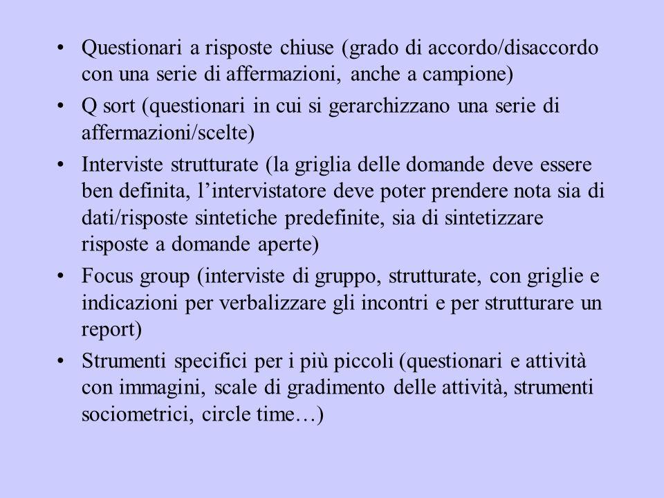 Questionari a risposte chiuse (grado di accordo/disaccordo con una serie di affermazioni, anche a campione)