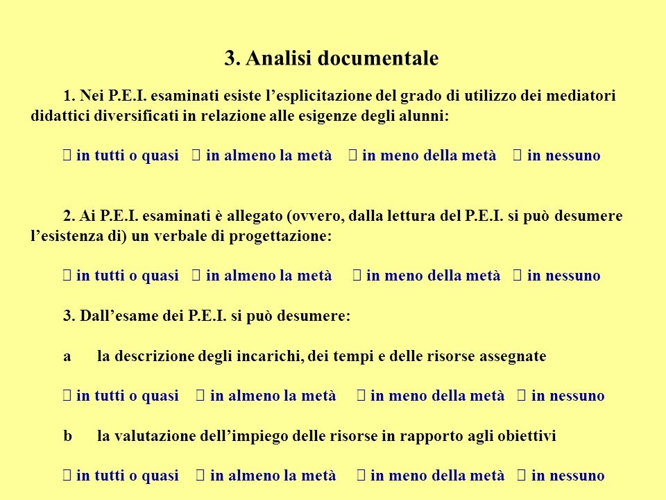 3. Analisi documentale