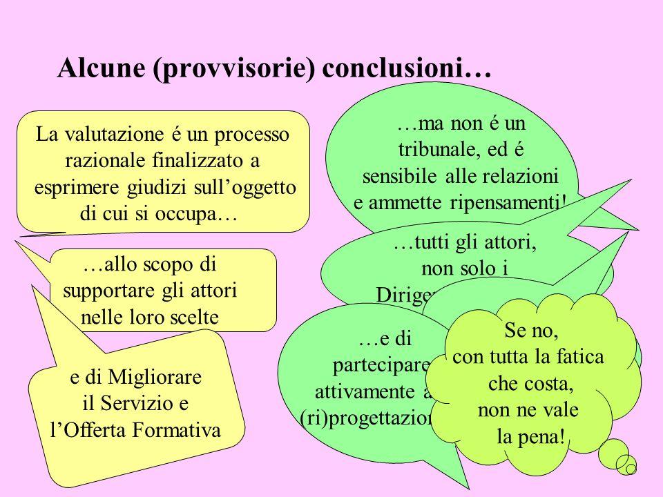 Alcune (provvisorie) conclusioni…