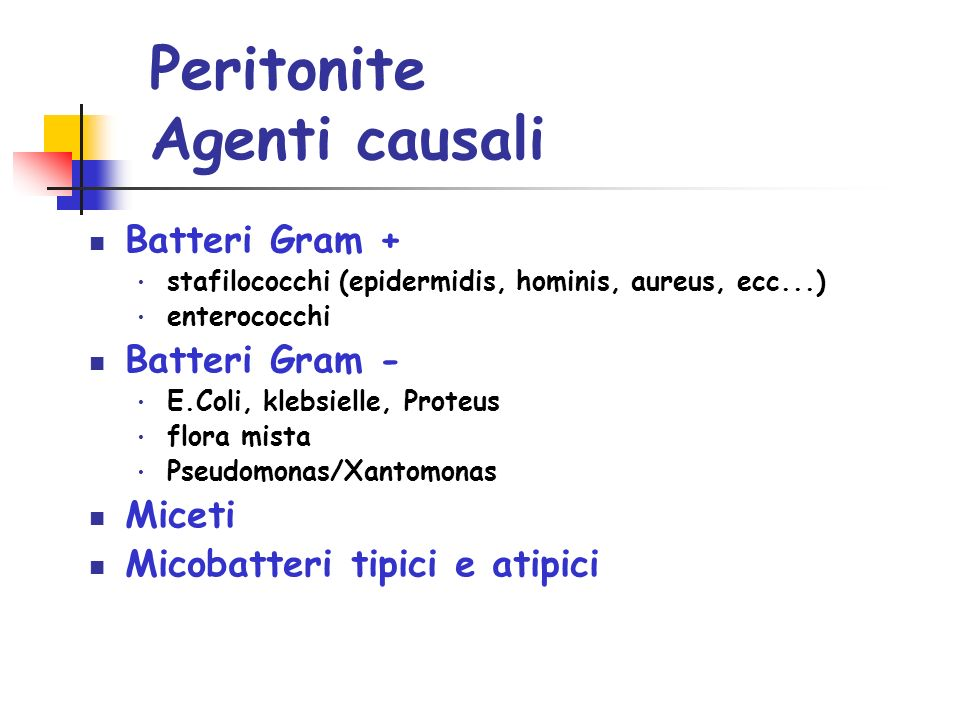 Peritonite Agenti causali
