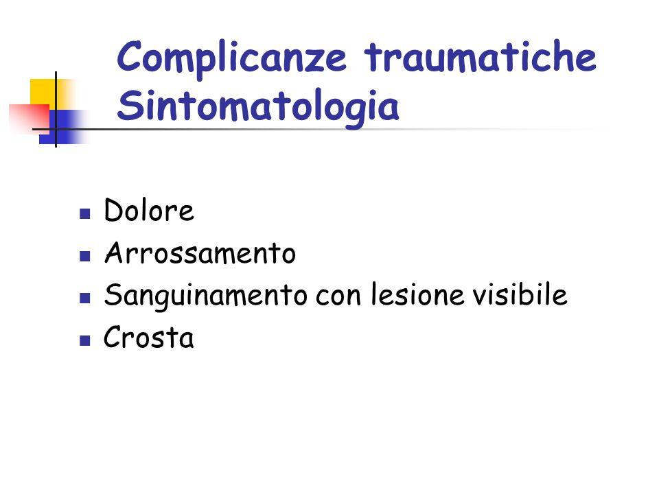 Complicanze traumatiche Sintomatologia