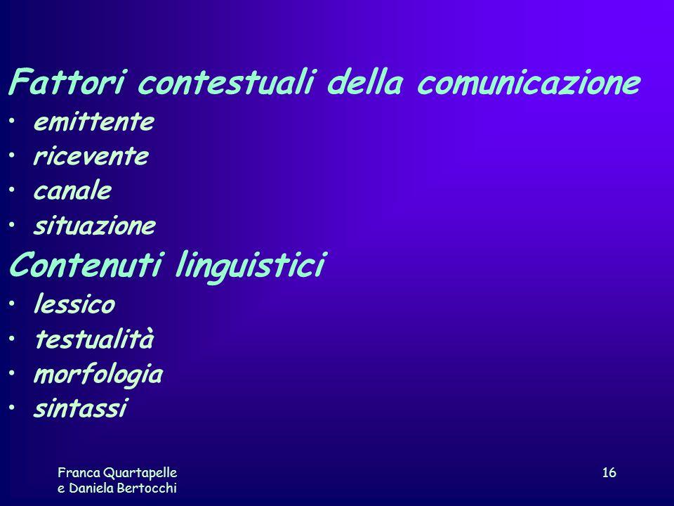 Fattori contestuali della comunicazione