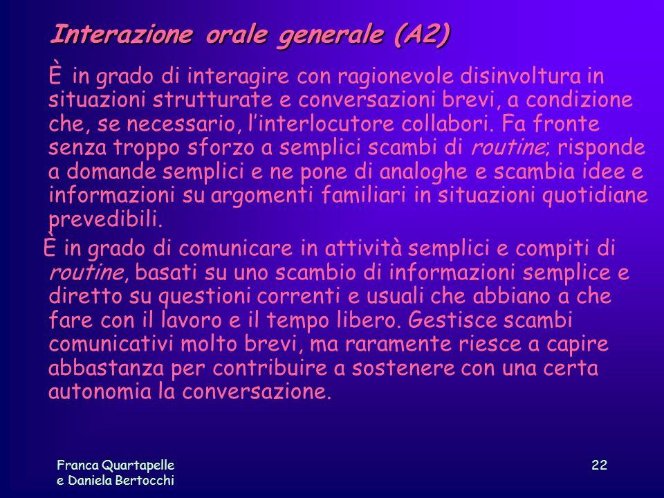 Interazione orale generale (A2)