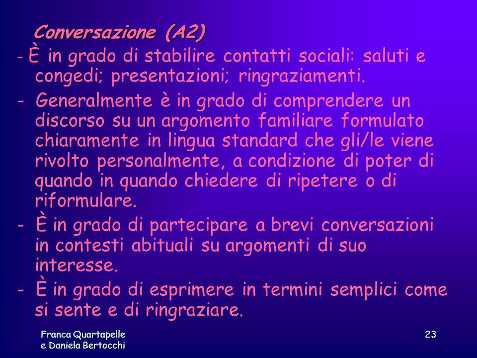 Conversazione (A2) - È in grado di stabilire contatti sociali: saluti e congedi; presentazioni; ringraziamenti.