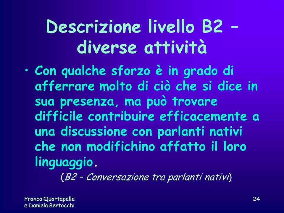 Descrizione livello B2 – diverse attività