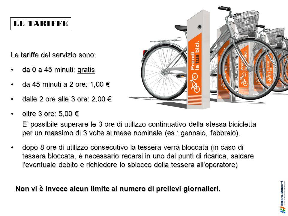 LE TARIFFE Le tariffe del servizio sono: da 0 a 45 minuti: gratis