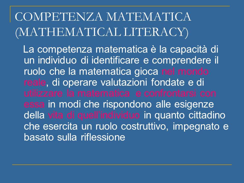 COMPETENZA MATEMATICA (MATHEMATICAL LITERACY)