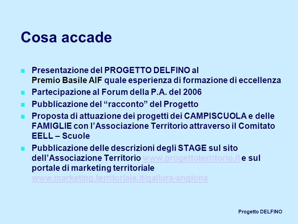 Cosa accadePresentazione del PROGETTO DELFINO al Premio Basile AIF quale esperienza di formazione di eccellenza.