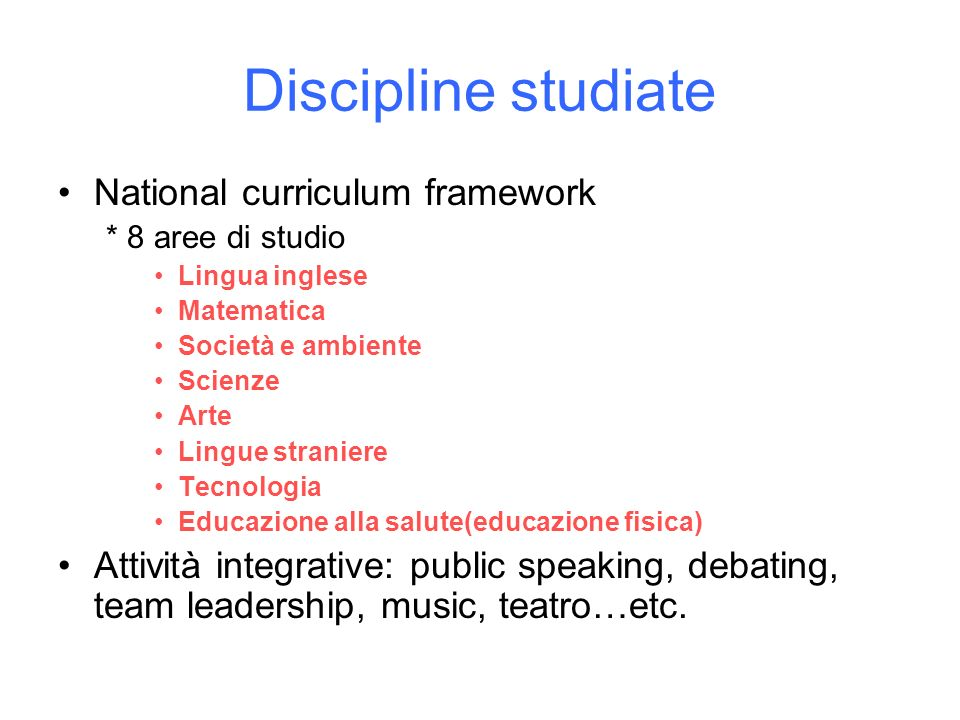 Discipline studiate National curriculum framework