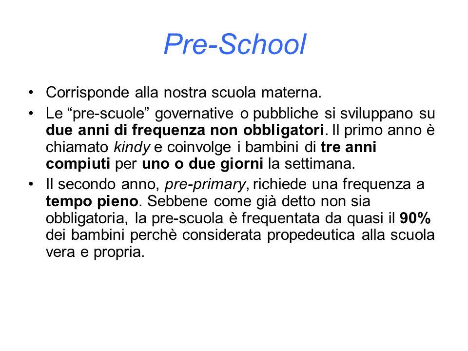 Pre-School Corrisponde alla nostra scuola materna.