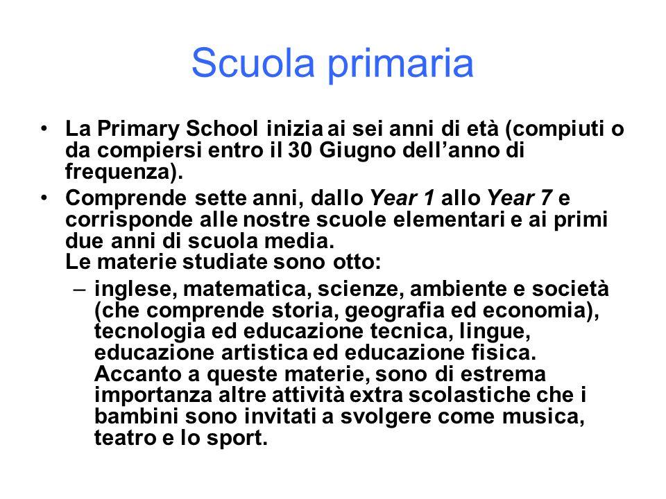 Scuola primariaLa Primary School inizia ai sei anni di età (compiuti o da compiersi entro il 30 Giugno dell'anno di frequenza).