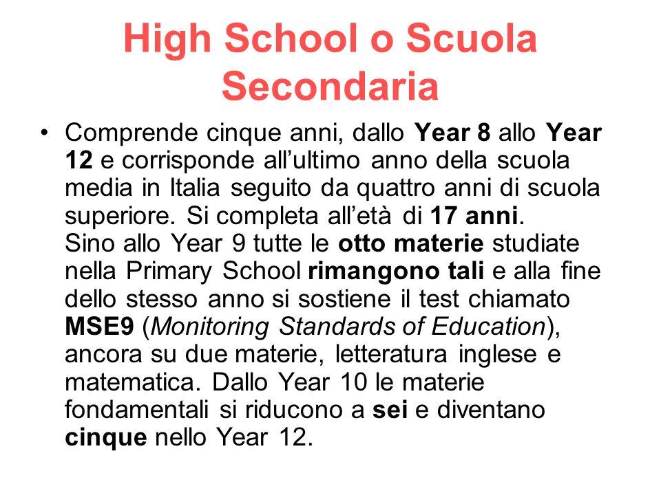 High School o Scuola Secondaria