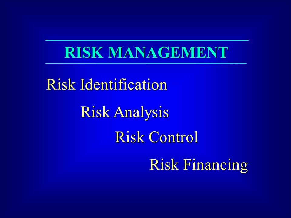 RISK MANAGEMENT Risk Identification Risk Analysis Risk Control Risk Financing