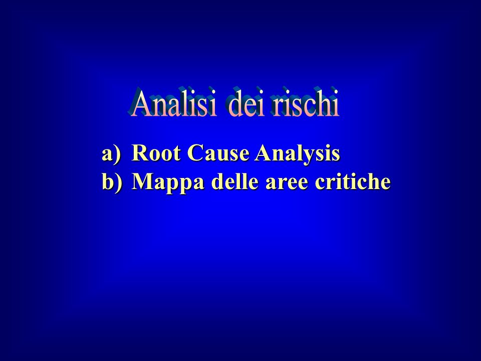 Analisi dei rischi Root Cause Analysis Mappa delle aree critiche