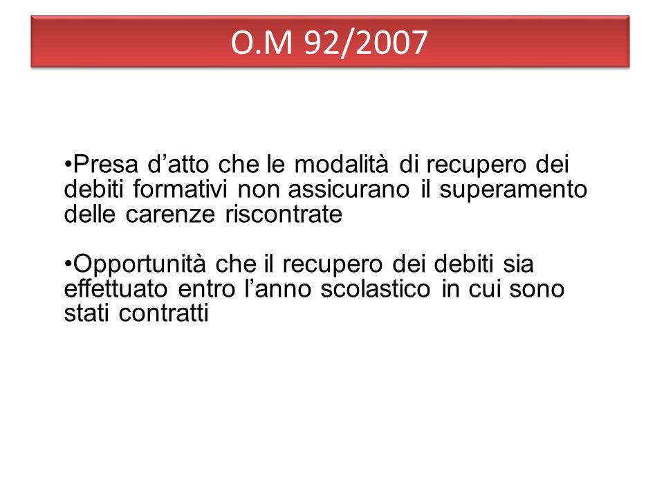 O.M 92/2007 Presa d'atto che le modalità di recupero dei debiti formativi non assicurano il superamento delle carenze riscontrate.