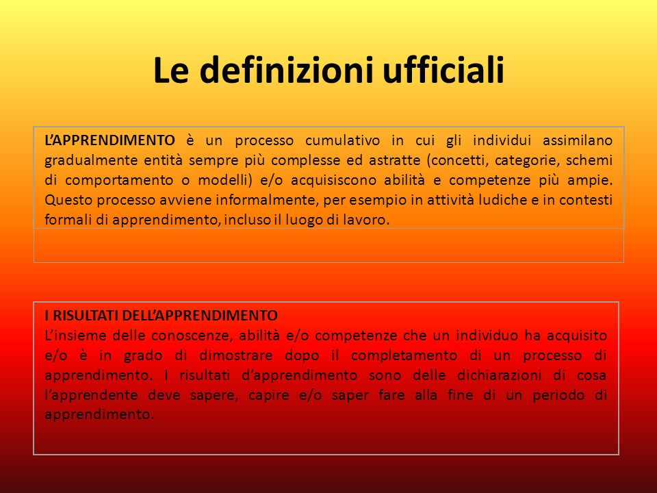 Le definizioni ufficiali