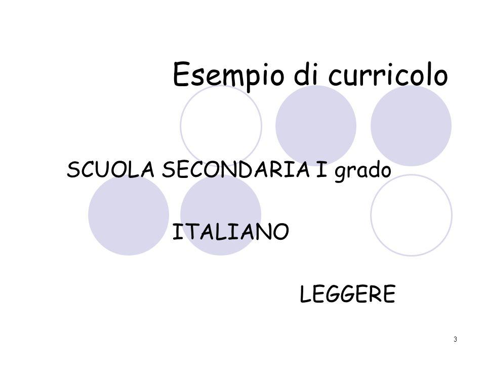 SCUOLA SECONDARIA I grado ITALIANO LEGGERE