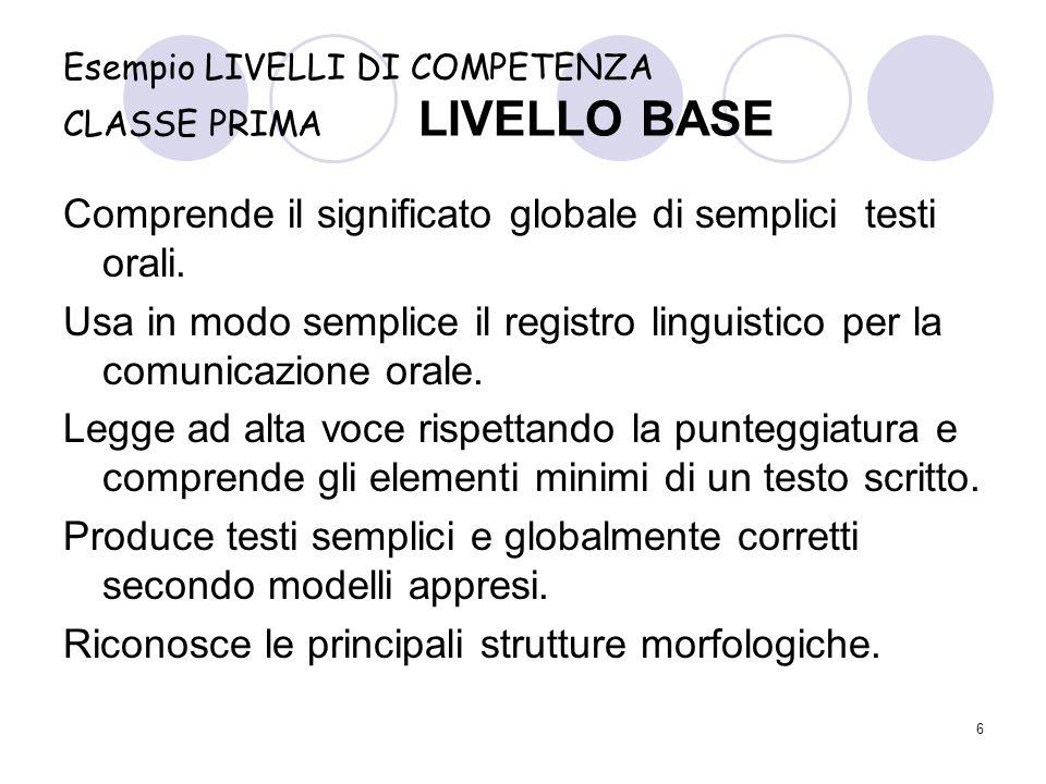 Esempio LIVELLI DI COMPETENZA CLASSE PRIMA LIVELLO BASE