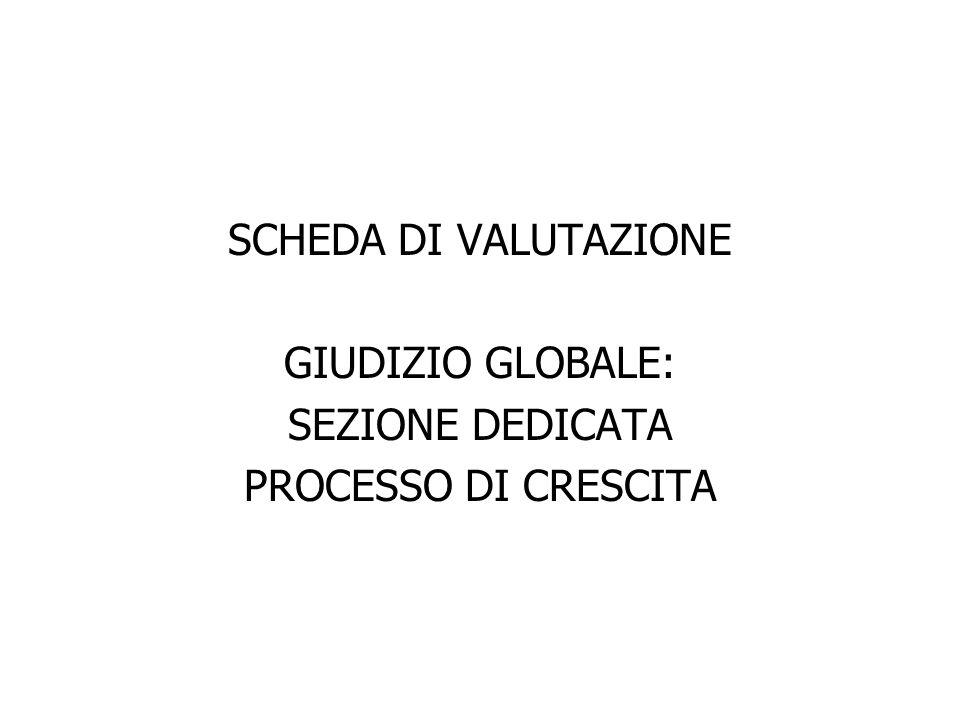 SCHEDA DI VALUTAZIONE GIUDIZIO GLOBALE: SEZIONE DEDICATA PROCESSO DI CRESCITA