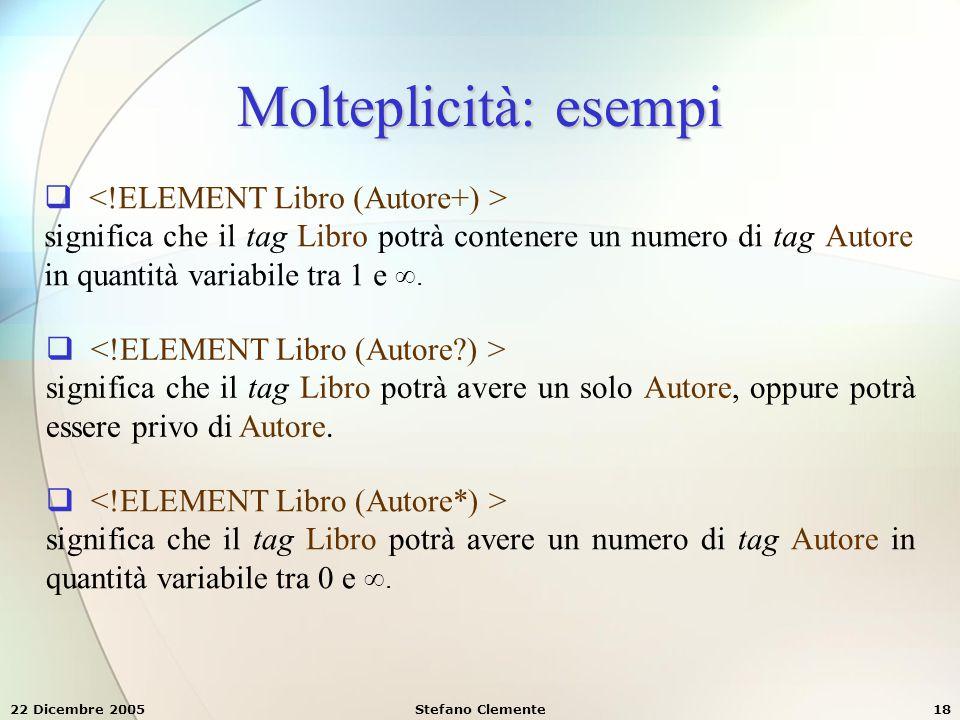 Molteplicità: esempi <!ELEMENT Libro (Autore+) >