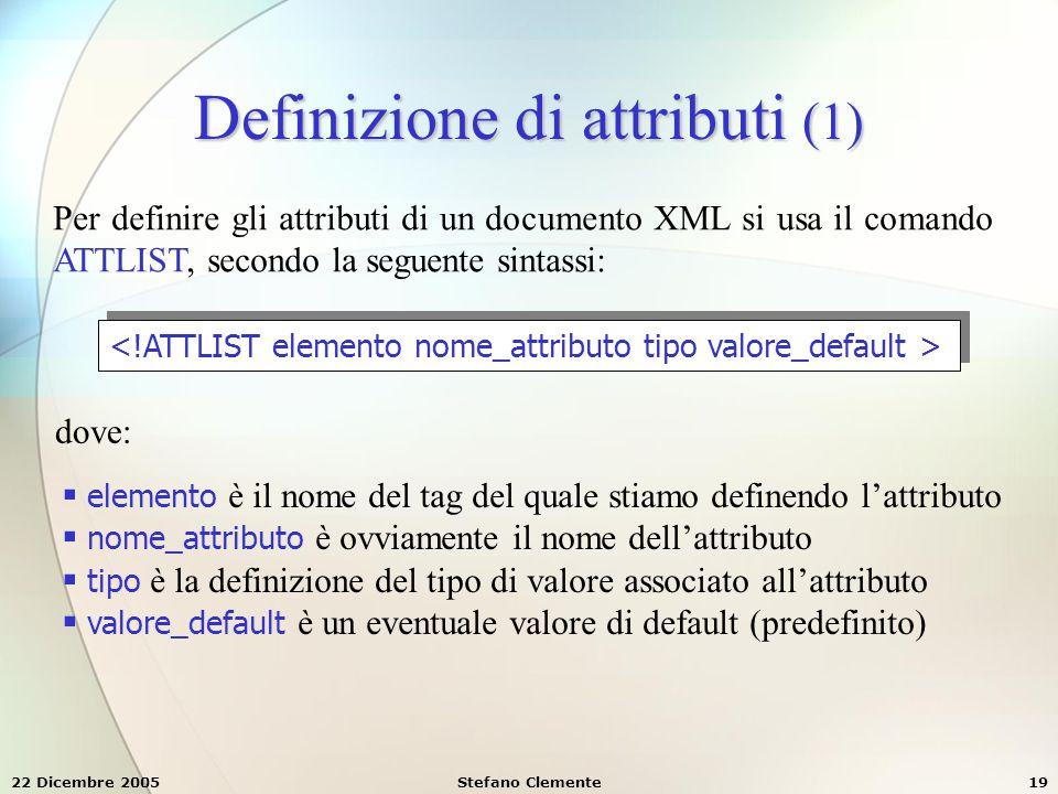 Definizione di attributi (1)